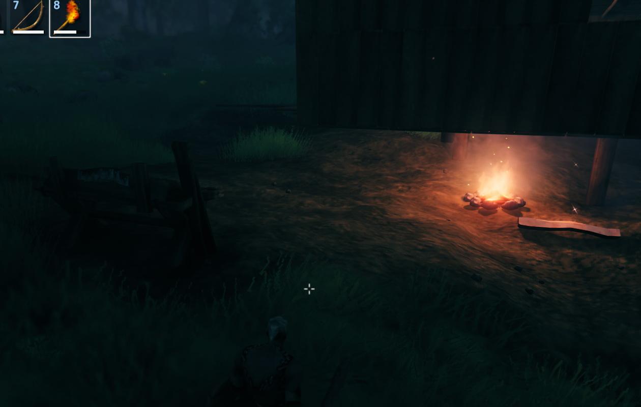 Valheim_家の下に焚き火を設置